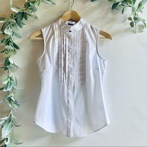 Talbots | NWT White Sleeveless Button With Collar